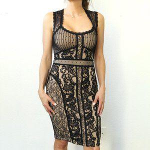 NWT Bebe Multi Media Lace Midi Dress Black Nude